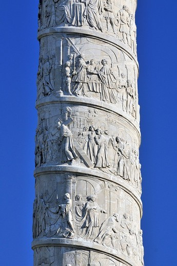 Stock Photo: 1848-205848 Column carved with biblical scenes, St. Charles´s Church, Karlskirche, Vienna, Austria, Europe