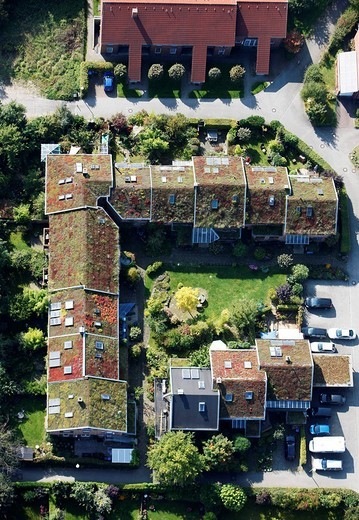 Stock Photo: 1848-205958 Greened roofs of one_familiy houses and multi_family houses, estate, Muenster, North Rhine_Westphalia, Germany, Europe