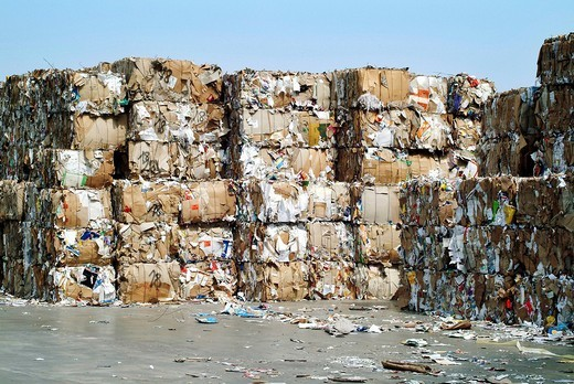 Stock Photo: 1848-206077 Stack of waste paper for recycling