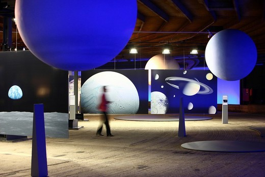 Stock Photo: 1848-206181 Three_dimensional representation of the Sun and her planets, Out of this World – Wonders of the Solar System, exhibition in the Gasometer, a former gas tank, Oberhausen, Ruhr Area, North Rhine_Westphalia, Germany, Europe