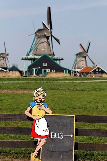 Cardboard cut_out of a Dutch woman in costume holding cheese, signpost to bus park, open_air museum Zaanse Schans, Zaanstadt, province of North Holland, Netherlands, Europe : Stock Photo