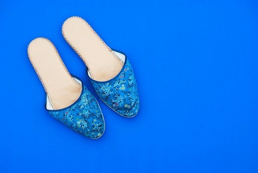 Stock Photo: 1848-206224 Blue slippers with flower pattern