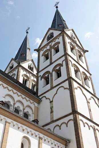 The romanic St. Severus church of 1236, Boppard, Rhein_Hunsrueck_Kreis district, Rhineland_Palatinate, Germany, Europe : Stock Photo
