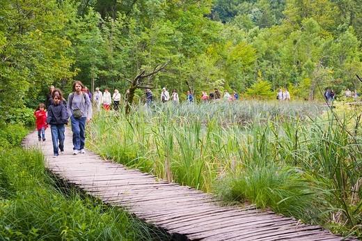 Tourists on the path at Plitvicka Jezera, Plitvice Lakes National Park, Lika_Senj, Croatia, Europe : Stock Photo