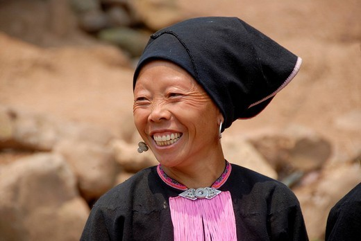 Stock Photo: 1848-206475 Poverty, portrait, ethnology, Yao woman dressed in a traditional costume, smiling with a turban headdress, village of Ban Namma Noi, Gnot Ou district, Yot Ou, Phongsali, Phongsali Province, Laos, Southeast Asia, Asia