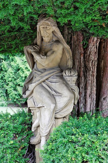 A statue in the park of the Residenz built 1720 to 1744 by Balthasar Neumann, Wuerzburg, Bavaria, Germany : Stock Photo