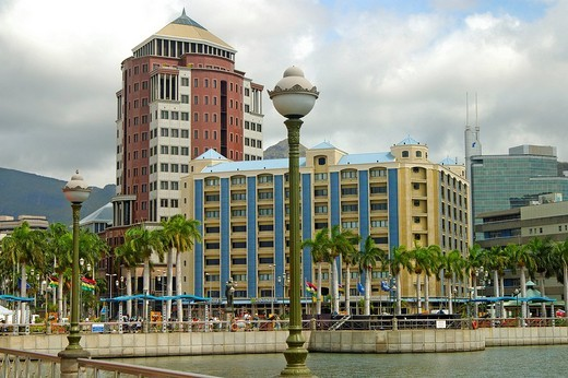 Headquarters of the State Bank in the city centre of the capital Port Louis, Mauritius : Stock Photo