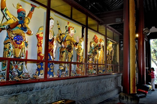 Stock Photo: 1848-207030 Warrior figurines, Longhua temple, Shanghai, China
