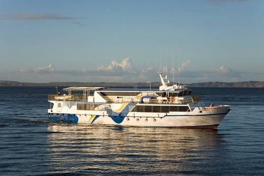 Passenger ferry entering Cumana Harbour, Isla Margarita, Margarita Island, Venezuela, Caribbean, South America : Stock Photo