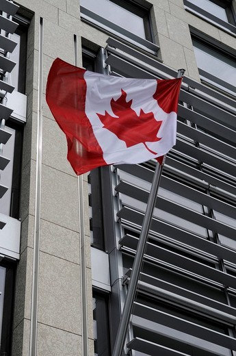 Stock Photo: 1848-207635 Canadian flag on the Canadian embassy, Leipziger Platz Square, Berlin, Germany, Europe