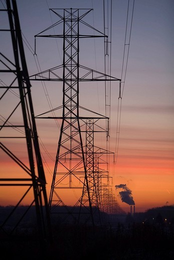 Electric transmission lines lead away from a DTE Energy coal_fired power plant, China Township, Michigan, USA : Stock Photo