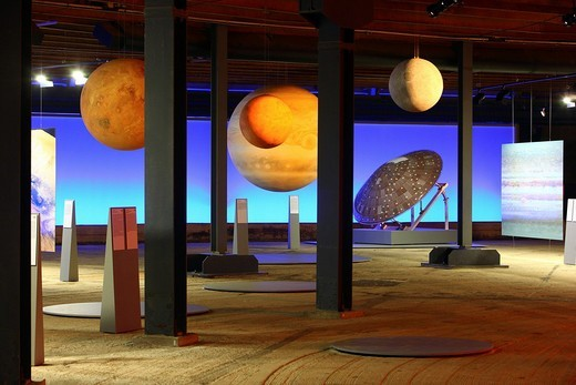 Stock Photo: 1848-208181 Three_dimensional representation of the Sun and her planets, Out of this World – Wonders of the Solar System, exhibition in the Gasometer, a former gas tank, Oberhausen, Ruhr Area, North Rhine_Westphalia, Germany, Europe