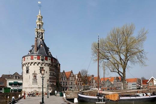 Historic fortified tower Hoofdtoren, harbour of Hoorn, IJsselmeer, Province of North Holland, Netherlands, Europe : Stock Photo