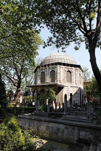 Tomb of the Sokollu Mehmed Pasa, mausoleum, Tuerbesi Muslim village Eyuep, Golden Horn, Istanbul, Turkey : Stock Photo