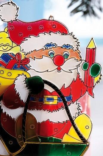 Stock Photo: 1848-208372 Santa Claus, window decoration