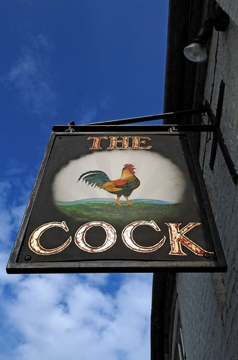 Restaurant sign The Cock, High Street 47, Hemingford Gray, Cambridgeshire, England, United Kingdom, Europe : Stock Photo
