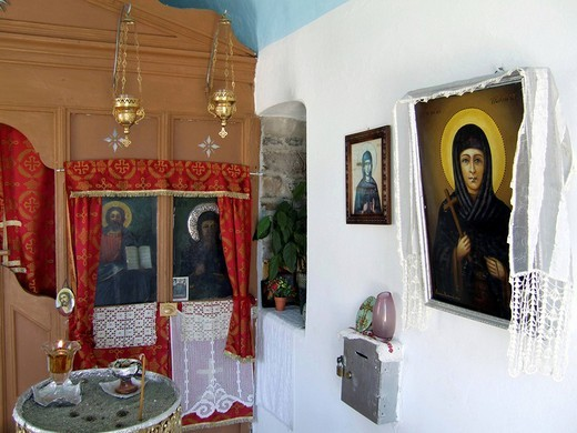 Stock Photo: 1848-20860 Inner view of a small chapel in the city of Samos, Vathy, Samos Island, Northeast Aegean Islands, Aegean Sea, Greece, Europe