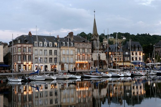 Port basin of Honfleur , Calvados , Normandy , France , Europe : Stock Photo