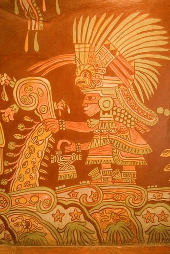 Prehispanic wallpainting, Museum of Anthropology, Mexico City, Mexico : Stock Photo
