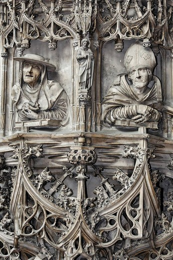 Stock Photo: 1848-208886 Pilgrams pulpit, bust of the Early Fathers of the Church, St. Stephans church, Vienna, Austria