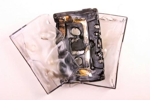 Broken musikcassette : Stock Photo