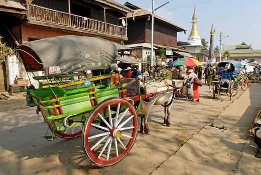 Cart used as a taxi, Kachin State, Burma, Myanmar, Asia : Stock Photo