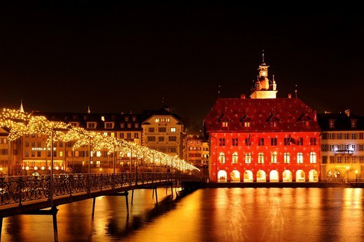 Lucerne Town Hall illuminated by light artist Gerry Hofstetter with Christmas light, Lucerne, Switzerland, Europe : Stock Photo