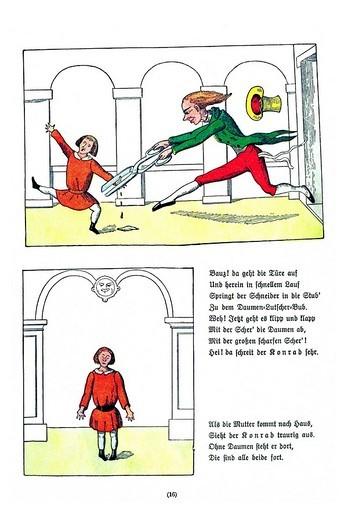 Book illustration, Die Geschichte vom Daumenlutscher, The Story of Little Suck_a_Thumb, Der Struwwelpeter, Shaggy Peter, Dr. Heinrich Hoffmann, 1876 : Stock Photo