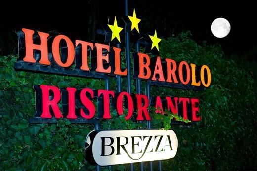Sign of Hotel Barolo Ristorante : Stock Photo