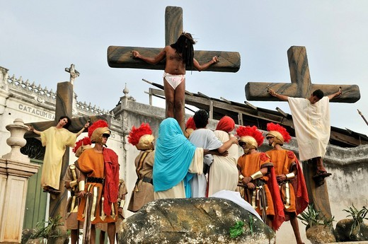 Crucifixion scene, open_air performance on Good Friday, Salvador, Bahia, Brazil, South America : Stock Photo