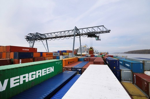 Stock Photo: 1848-210371 Bonn harbor, view from the container ship on the container deck, containers are loaded onto a barge, North Rhine_Westphalia, Germany, Europe