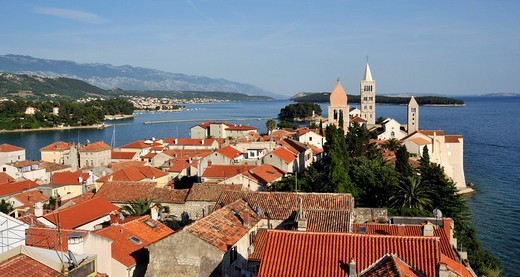 Oldest quarter of Rab Town, with Belfry of St Justine´s Church, Great Bell Tower of St Mary´s Cathedral, and Campanile of St Andrew´s Monastery as seen from Campanile of Church of St John the Evangelist, Kaldanac, Croatia, Europe : Stock Photo