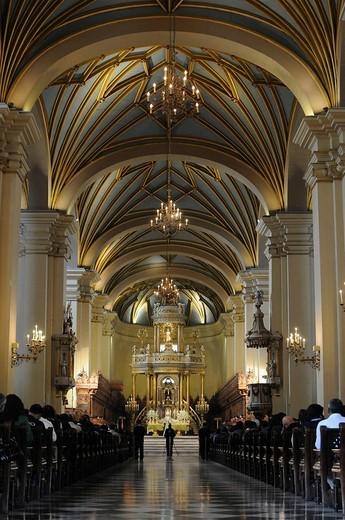 Liturgy, Cathedral of Lima, Plaza de Armas de Lima, historic centre, Lima, Peru, South America, Latin America : Stock Photo