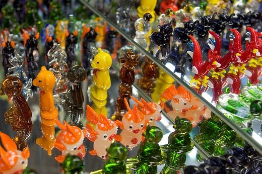 Glass figures at Gordiola Manufaktur Majorca : Stock Photo