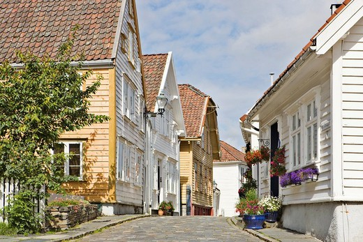 Beautiful old wooden houses in Old Stavanger, the historic centre of Stavanger European Capital of Culture 2008, Norway, Europe : Stock Photo