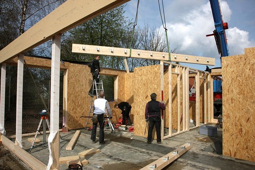 Carpenters building a wooden house, a one_family_house using wooden framework, low_energy house, Recklinghausen, North Rhine_Westphalia, Germany, Europe : Stock Photo