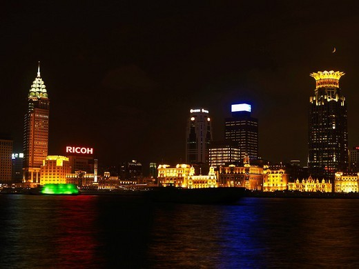 Skyline of Pudong at Huangpu River at night, Shanghai, China, Asia : Stock Photo