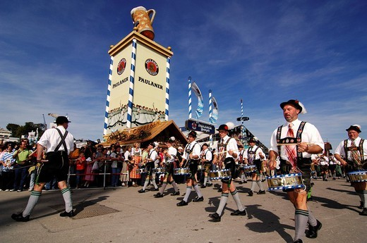 Stock Photo: 1848-211738 Opening ceremony, entering of the breweries, Wies´n, October fest, Munich, Bavaria, Germany, Europe