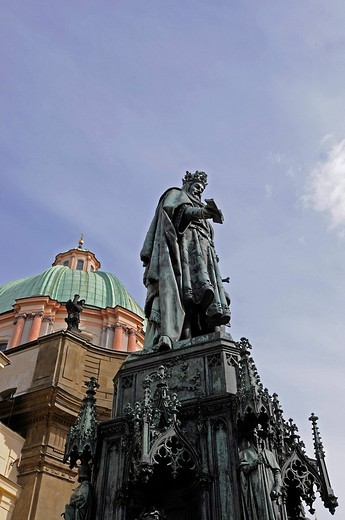 Staue of the emperor Charles IV, near Charles Bridge, Prague, Czech Republic, Europe : Stock Photo