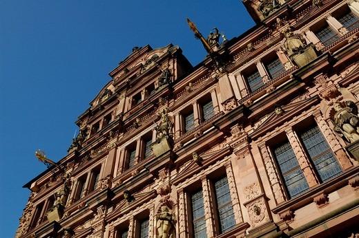 Castle Heidelberg, ruins, courtyard Friedrichsbau Heidelberg Baden_Wuerttemberg Germany : Stock Photo