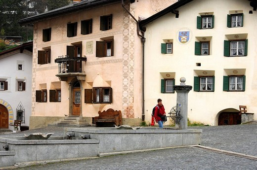 Stock Photo: 1848-212977 Typical Engadin houses, village view, Scuol, Schuls, Lower Engain, Switzerland