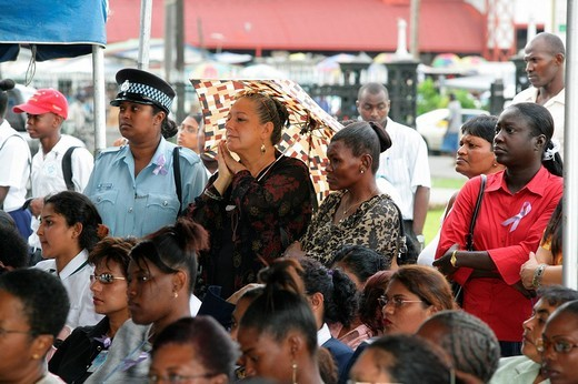 Stock Photo: 1848-213222 Women of various ethnic backgrounds protesting violence against women, Georgetown, Guyana, South America