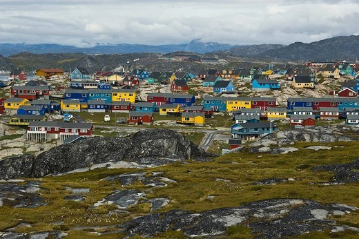 Typical colourful apartment houses, Ilulissat, Greenland, North Atlantic : Stock Photo