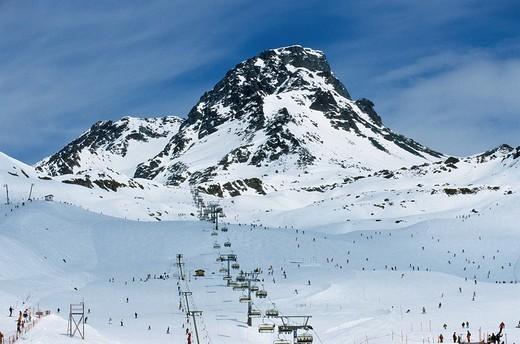 Stock Photo: 1848-213484 Chair lift, Ischgl, Idalpe, Tyrol, Austria, Europe