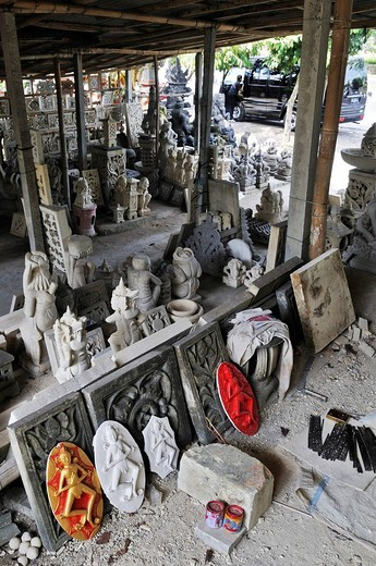 Stonecutter´s workshop, Sanur, Denpasar, Bali, Indonesia, Southeast Asia : Stock Photo