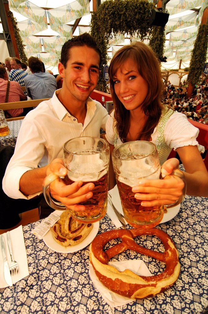 Stock Photo: 1848-213727 Couple in a beer tent, Wies´n, Oktoberfest, Munich, Bavaria, Germany, Europe