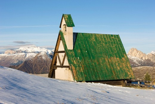 Chapel on Passo di Giau, Belluno, Italy, Europe : Stock Photo