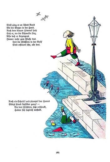 Book illustration, Die Geschichte vom Hanns Guck_in_die_Luft, The Story of Hans Look_in_the_Air, Der Struwwelpeter, Shaggy Peter, Dr. Heinrich Hoffmann, 1876 : Stock Photo