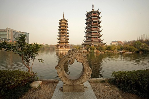 The Shanhu lake with pagodas called moon and sun in the Chinese city of Guilin, Guangxi, China, Asia : Stock Photo