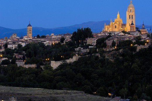 Alcazar, Cathedral at nigth, Segovia, Castile and León, Spain, Europe : Stock Photo